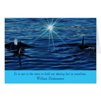 Cartes Salutation inspirée de mer de Starlight d'épaulard