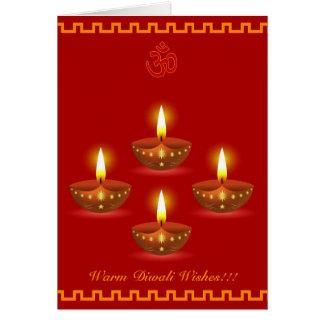 Cartes Salutations de Diwali avec les lampes à lueur
