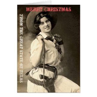 Cartes Salutations de Noël de cow-girl du Texas