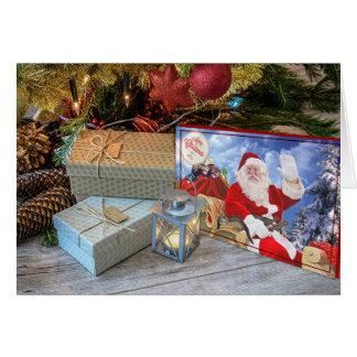 Cartes Salutations de Noël de Père Noël et de ses furets