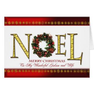 Cartes Salutations de Noel pour le filleul et l'épouse