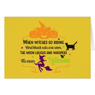 Cartes Salutations de sorcières et de citrouilles