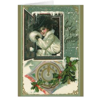 Cartes Salutations vintages de nouvelle année, fille