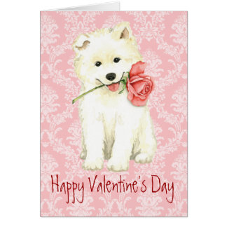 Cartes Samoyed rose de Valentine