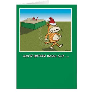 Cartes Sandy drôle griffe Noël de chat