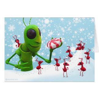 Cartes Sauterelle et fourmis Chirstmas CardGrasshopper et