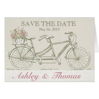 Cartes Sauvez la bicyclette tandem vintage de date