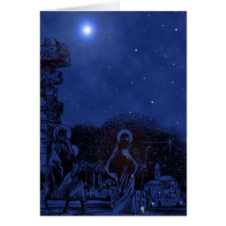 Cartes Scène de nativité de nuit étoilée