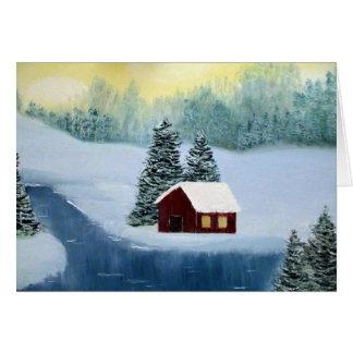 Cartes Scène de paysage de rivière congelée par cabine de