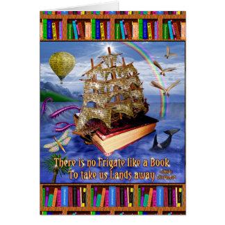 Cartes Scène d'océan de bateau de livre avec la citation