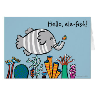 Cartes Scène mignonne de poissons d'éléphant avec le