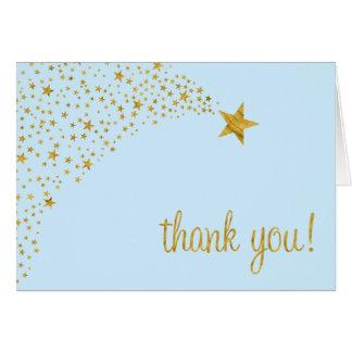 Cartes Scintillement peu de Merci bleu d'or d'étoile
