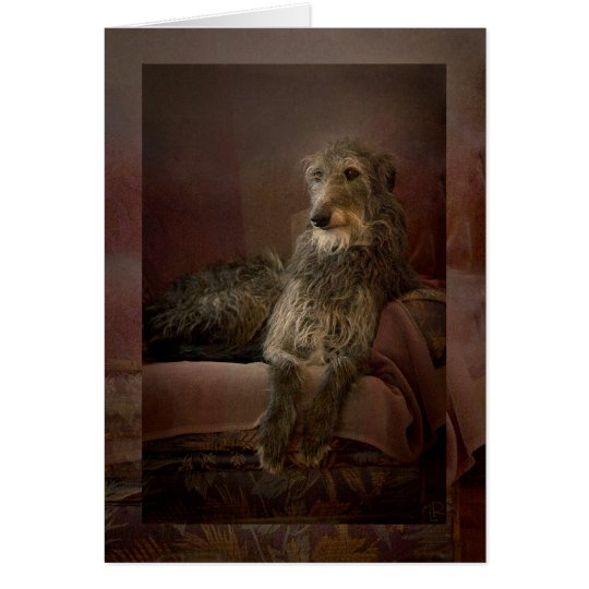 Cartes Scottish deerhound on a sofa