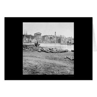 Cartes Secteur et capitol brûlés à Richmond, VA 1865