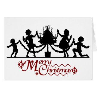 Cartes Sensations de silhouette, enfants et Noël