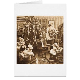 Cartes Sépia vintage victorienne de Père Noël Stereoview