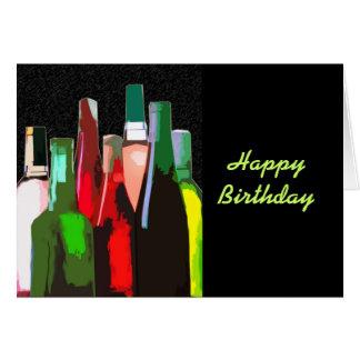 Cartes Sept bouteilles de vin sur l'anniversaire de mur