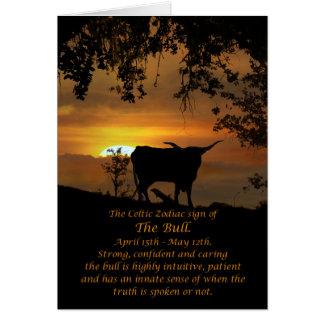 Cartes Signe celtique de zodiaque de Taureau