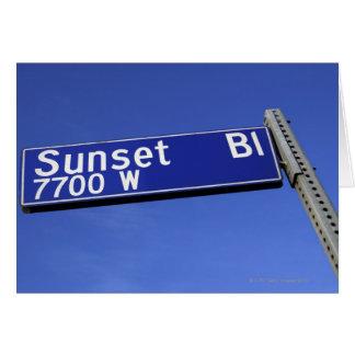 Cartes Signe de boulevard de coucher du soleil contre un