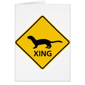 Cartes Signe de route de croisement de belette/furet