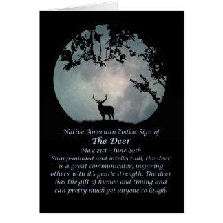 Cartes Signe de zodiaque de Natif américain des cerfs