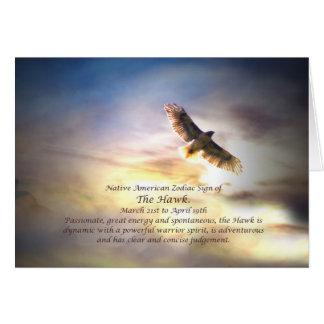 Cartes Signe de zodiaque de Natif américain du faucon