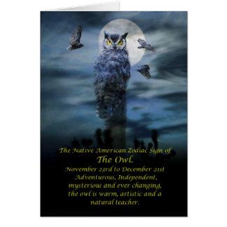 Cartes Signe de zodiaque de Natif américain du hibou