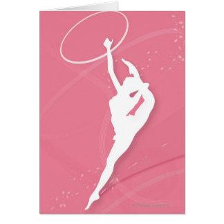 Cartes Silhouette d'un gymnaste féminin exécutant avec a