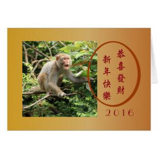 Cartes Singe chinois de la nouvelle année d'amusement