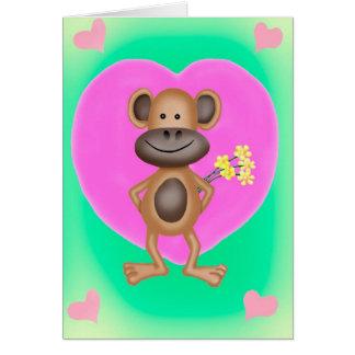 Cartes Singe effronté avec un coeur
