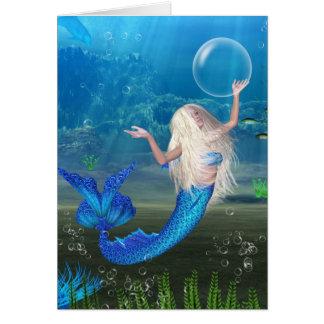 Cartes Sirène assez blonde avec la bulle