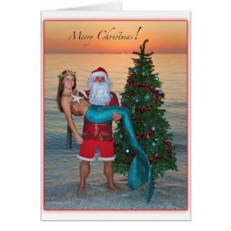 Cartes Sirène de Joyeux Noël avec Père Noël sur la plage
