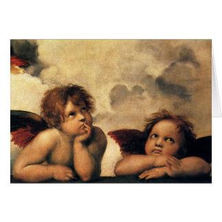 Cartes Sistine Madonna, détail d'anges par Raphael