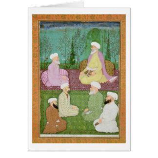 Cartes Six hommes saints musulmans assis sur une terrasse