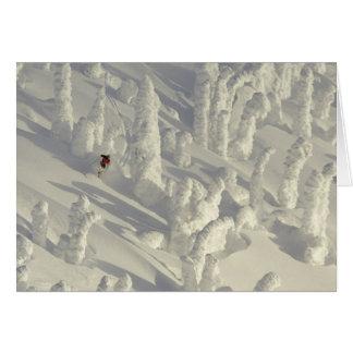 Cartes Skieur alpin dans les snowghosts épais à grand