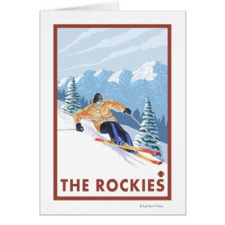 Cartes Skieur de neige de Downhhill - les Rocheuses