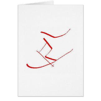 Cartes Skieur rouge