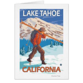Cartes Skis de transport de neige de skieur - le lac