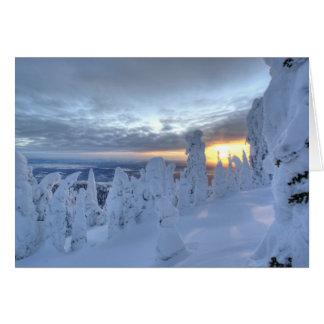 Cartes Snowghosts au coucher du soleil à la montagne de
