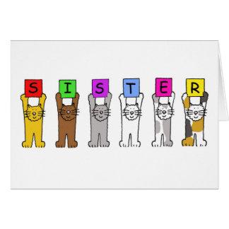 Cartes Soeur de joyeux anniversaire avec des chats de
