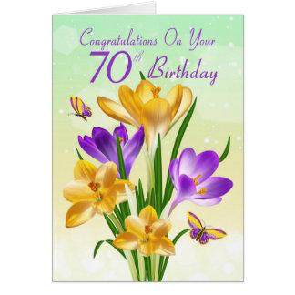 Cartes soixante-dixième Crocus jaune et pourpre
