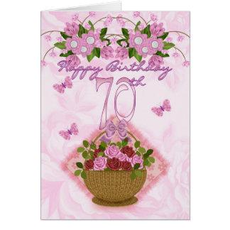Cartes soixante-dixième Madame d'anniversaire, roses et