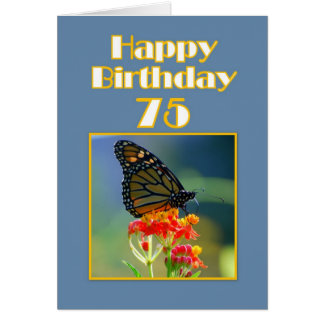 Cartes Soixante-quinzième papillon de monarque heureux