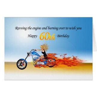 Cartes soixantième Anniversaire avec une moto flamboyante