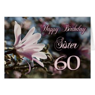 Cartes Soixantième anniversaire de soeur avec la magnolia