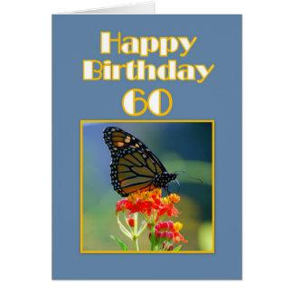 Cartes Soixantième papillon de monarque heureux