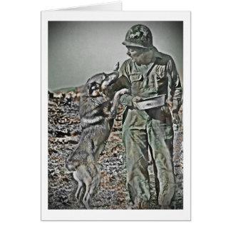Cartes Soldat et son berger allemand