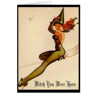 Cartes Sorcière vintage, sorcière vous étiez ici