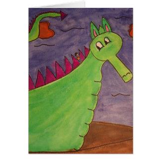 Cartes Soufflent le dragon magique - aquarelles