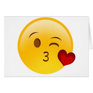 Cartes Soufflez un autocollant d'emoji de baiser